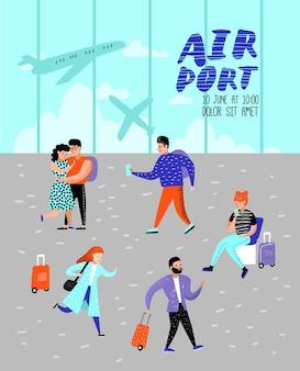 飛行機のポスターで旅行する人々