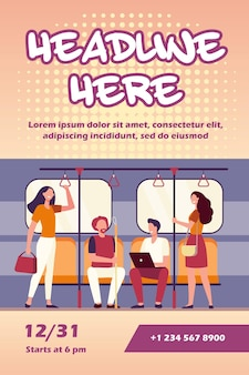 People traveling by subway flyer template