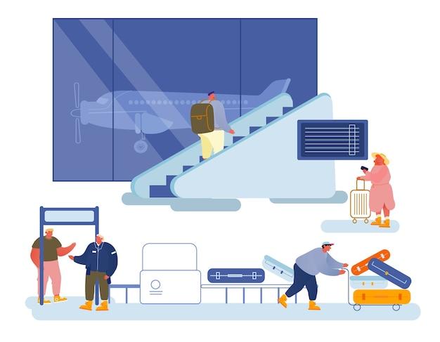 人々の旅のコンセプト。旅行のために飛行機に搭乗するのを待っている空港部門の男性女性。
