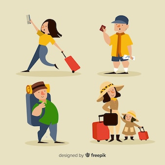 People traveling in different positions  collection
