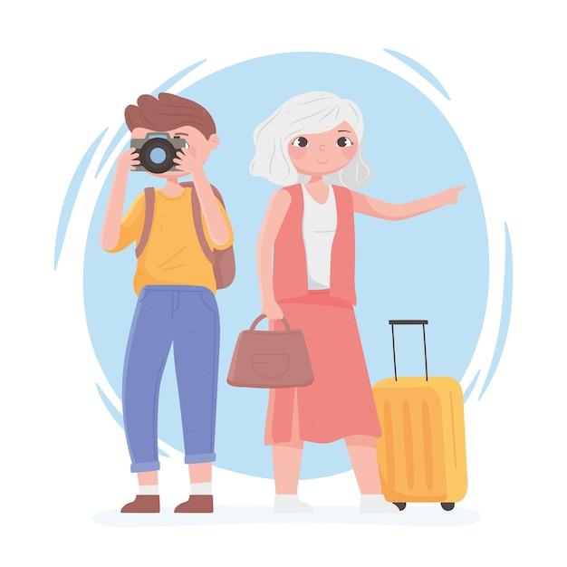 旅行中の人々、カメラとスーツケースのイラストを持つ年配の女性と若い男性