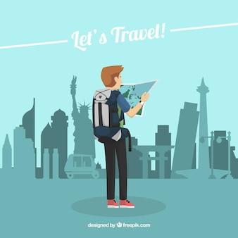 Люди, путешествующие в плоском стиле