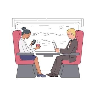 客車に座って電車のキャラクターで旅行する人々、スケッチイラスト。旅行と観光、アクティブなライフスタイル。