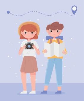 Люди путешествуют, мужчина и женщина мультфильм с местоположением карты и иллюстрацией камеры