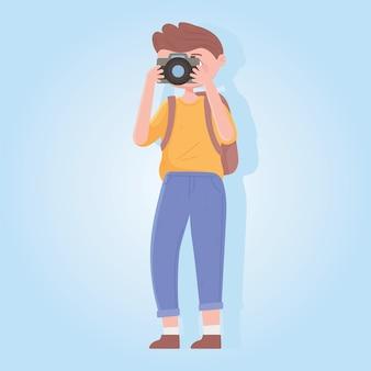 旅行者、カメラとバックパックのイラストを持つ男の旅行者