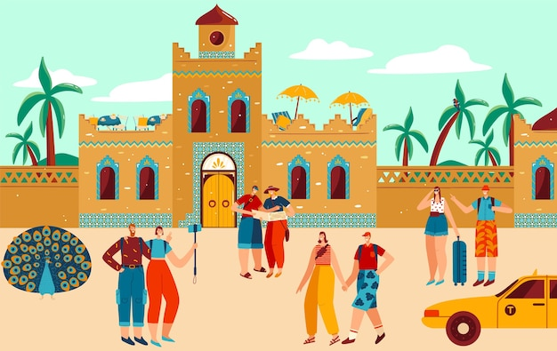 Люди, путешествующие в африку плоские векторные иллюстрации. герои мультфильмов путешественники путешествуют, посещают традиционную африканскую деревню с этническими домами и зданиями