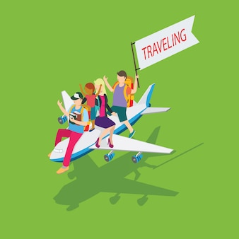 People traveling with people and plane icon isometric