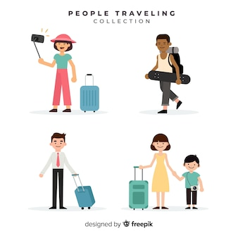 People traveling with suitcase collection