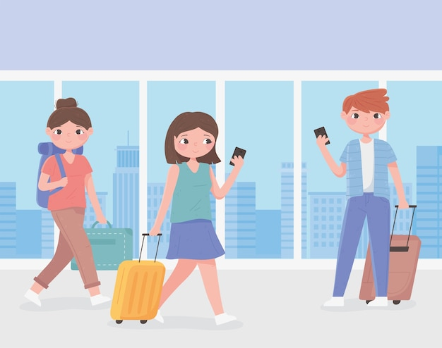 旅行中の人、空港のイラストでスマートフォンとスーツケースを持っている若者