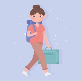 旅行中の人々、バックパックとフォルダーのイラストと若い女性の観光客