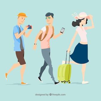 フラットなスタイルで旅行する人々