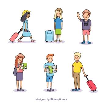 손으로 그린 스타일을 여행하는 사람들