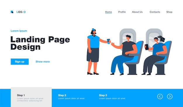 People travelling by airplane landing page in flat style
