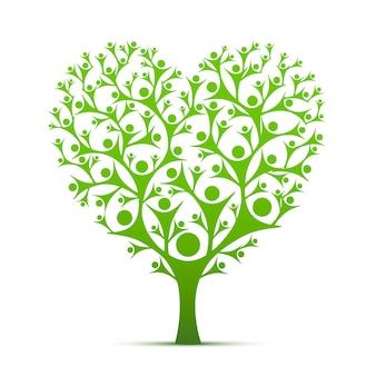 사람들 나무 기호 심장 색 흰색 바탕에 녹색. 벡터 일러스트 레이 션