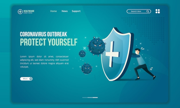People tries to protect themselves from corona virus threats illustration on landing page