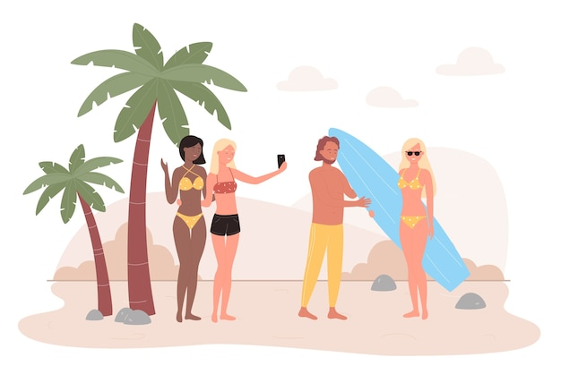 People on tropical sea beach   illustration.  happy friend characters spend fun time outdoor on summer seaside tropics, take selfies, communicate. summertime leisure