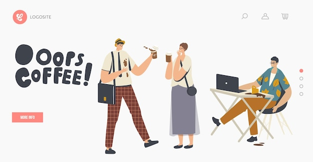 People in trouble with drink splash landing page template. characters spill coffee on their clothes and laptop making stains. clumsiness, accident on street or office. cartoon vector illustration