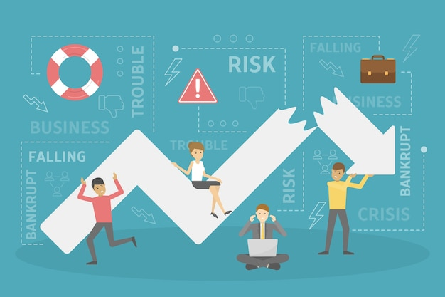 人々は、ビジネス危機のメタファーとして、下向きの矢印を修正しようとします。金融の崩壊と失敗。経済の減少。フラットのベクトル図