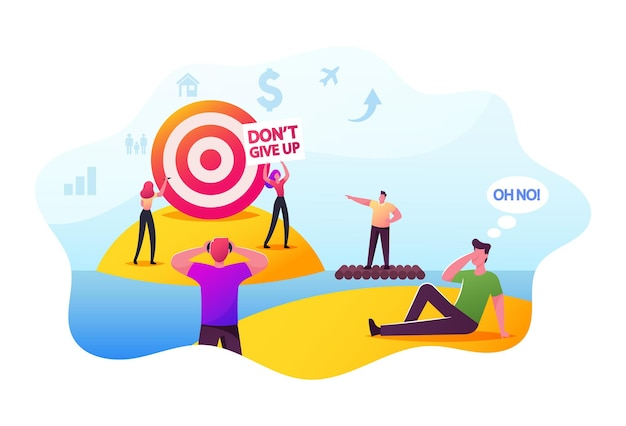 People trying to achieve distant goal. male or female characters looking on target through binoculars, floating on raft, throw darts into remote aim. motivation, challenge. cartoon vector illustration
