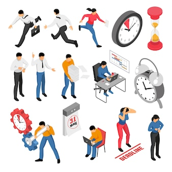 People trying to finish tasks before deadline isometric icons set isolated on white 3d