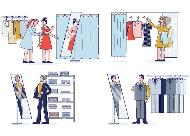 Люди пробуют новую одежду в модном бутике