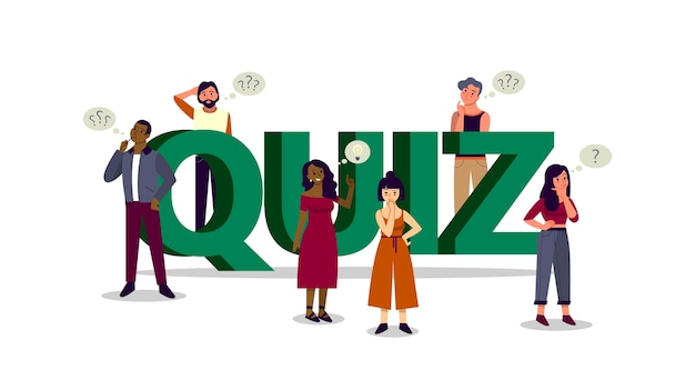 People on the tv quiz show. people standing in doubt with big question mark sign. faq or question and answer concept