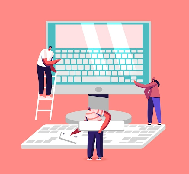 People typing, office work, education and technology illustration