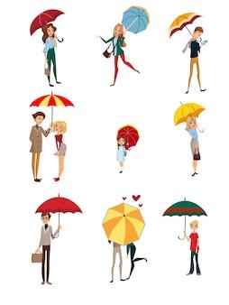 Люди под зонтиком, дети, мужчины и женщины, идущие с красочными зонтиками, дождливая погода концепция мультяшный иллюстрации