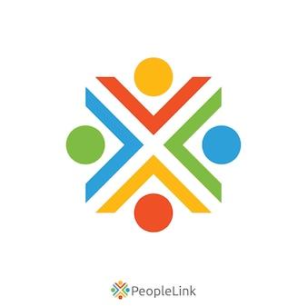 Логотип единства людей с буквой x. шаблон логотипа