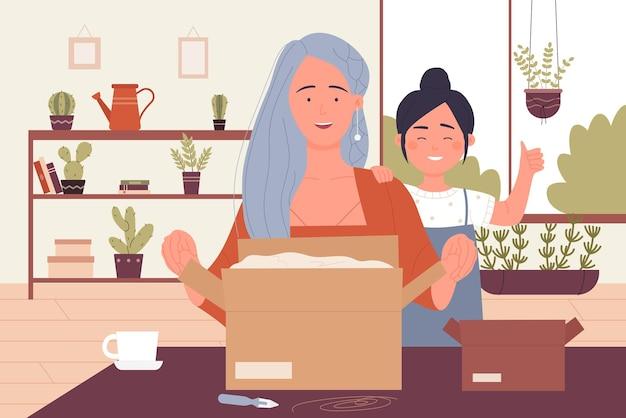 Люди распаковывают открытую почтовую посылку, счастливая семья, мать и дочь упаковывают посылку