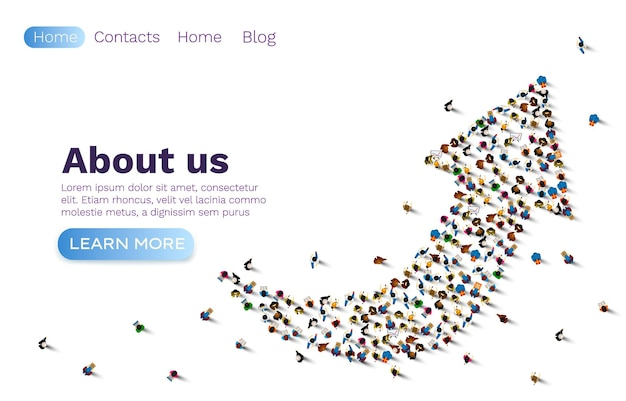 People up arrow, group network web site, banner teamwork.