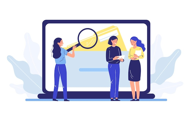 Люди используют увеличительное стекло для поиска и извлечения файлов в электронной базе данных.