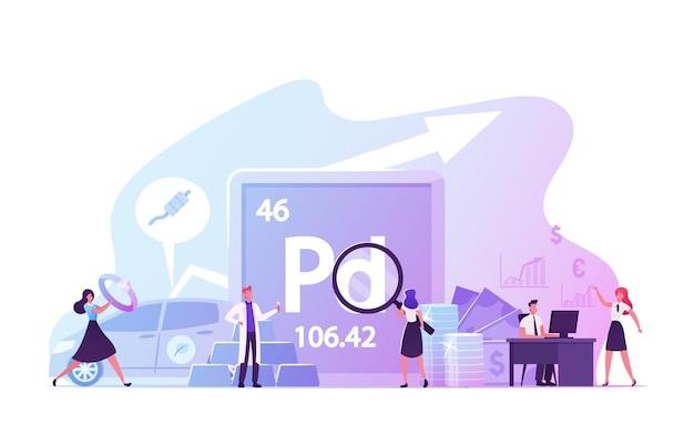 사람들은 기호 pd와 원자 번호 46을 가진 팔라듐, 주기율표 화학 원소를 사용하고 연구합니다.