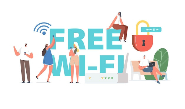 People use free wifi concept