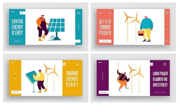 人々はグリーンエネルギーのウェブサイトのランディングページセットを使用しています。再生可能エネルギー源の太陽と風からのクリーンな電気。