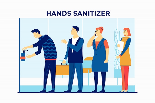 People use hands sanitizer at office building to prevention