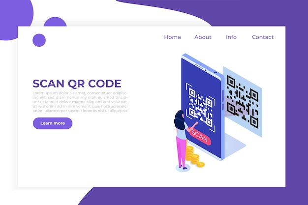 People use smartphone for qr code scanning. landing page template.