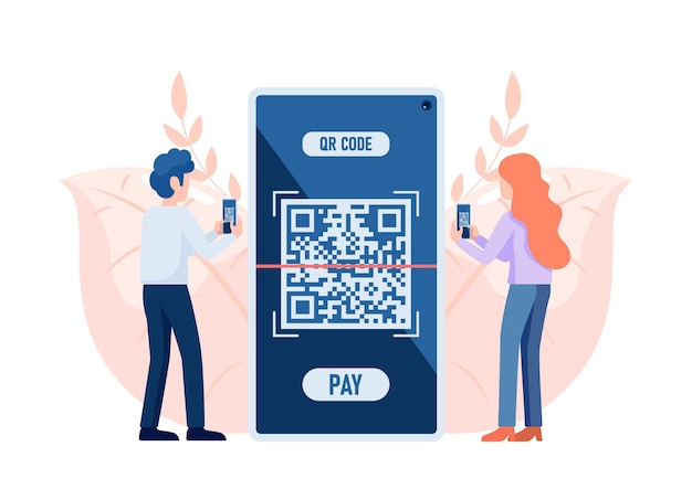People use smartphone scanning qr code to payment. qr code verification technology concept.