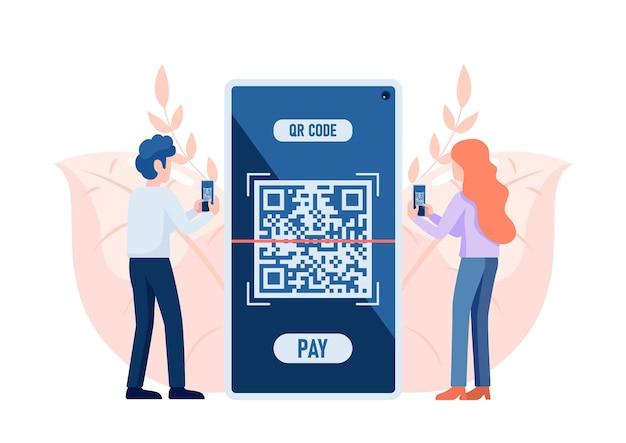 Люди используют смартфон для сканирования qr-кода для оплаты. концепция технологии проверки кода qr.