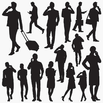 People use smartphone silhouettes