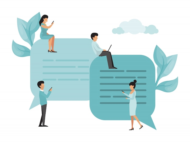 사람들은 스마트 폰과 랩톱을 사용하여 소셜 미디어에서 채팅합니다. 남자와 여자는 큰 연설 거품에 앉아서 채팅.