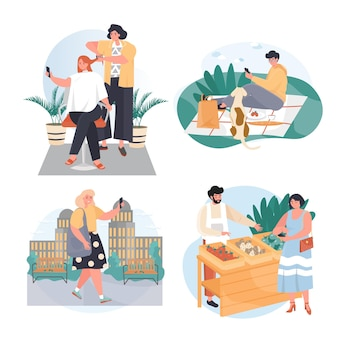 People use smartphones in different locations concept scenes set vector illustration of characters