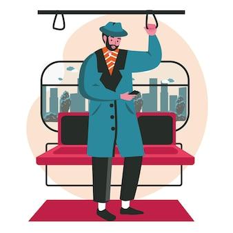 Люди используют смартфоны в разных концепциях сцены. человек стоит и просматривает или общается по мобильному телефону, едет в метро. векторная иллюстрация персонажей в плоском дизайне
