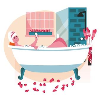 Люди используют смартфоны в разных концепциях сцены. женщина, лежа в ванне и просматривая или нетворкинг, расслабляясь в деятельности людей в ванной. векторная иллюстрация персонажей в плоском дизайне