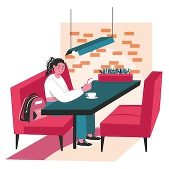 Люди используют смартфоны в разных концепциях сцены. женщина сидит в кафе и просматривает мобильный телефон, общается или болтает с людьми. векторная иллюстрация персонажей в плоском дизайне