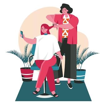 Люди используют смартфоны в разных концепциях сцены. женщина, делающая селфи на мобильном телефоне во время стрижки волос в парикмахерской. векторная иллюстрация персонажей в плоском дизайне