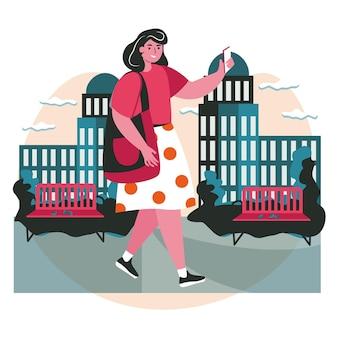 Люди используют смартфоны в разных концепциях сцены. женщина с мобильным телефоном гуляет по городской улице, фотографирует или болтает с людьми. векторная иллюстрация персонажей в плоском дизайне