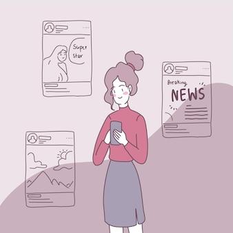 Le persone usano gli smartphone per ricevere notizie nella loro vita quotidiana.