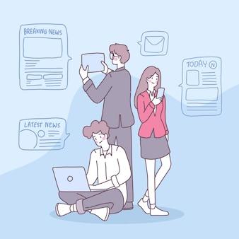 사람들은 일상 생활에서 뉴스를 받기 위해 스마트 폰을 사용합니다.