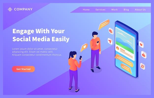 Люди используют социальные медиа со смартфоном и концепцией значка для шаблона сайта или целевой страницы